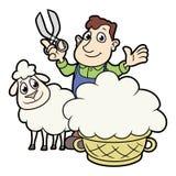 Farmer sheaving wool from sheep. Cartoon illustration of a farmer sheaving wool from sheep stock illustration