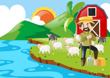 Farmer and sheeps in the farm. Illustration Stock Photography