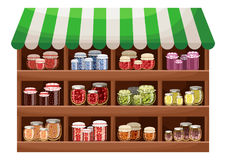 Farmer shop of berry jam. Counter with products. Vector stock illustration