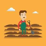 Farmer with shovel at field vector illustration. Royalty Free Stock Photo