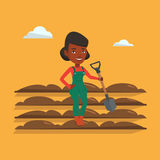 Farmer with shovel at field vector illustration. An african farmer standing with shovel on the background of plowed field. Farmer using shovel for plowing a Royalty Free Stock Photos