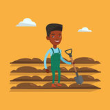 Farmer with shovel at field vector illustration. An african farmer standing with shovel on the background of plowed field. Farmer using shovel for plowing a Royalty Free Stock Image