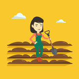 Farmer with shovel at field vector illustration. Royalty Free Stock Images
