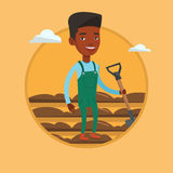 Farmer with shovel at field vector illustration. Farmer standing with shovel on the background of plowed field. Man working in field with a shovel. Man plowing Royalty Free Stock Images