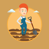Farmer with shovel at field vector illustration. Stock Photo