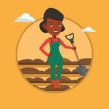Farmer with shovel at field vector illustration. Farmer standing with shovel on the background of field. Woman working in field with a shovel. Woman plowing Stock Photo