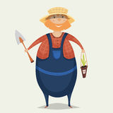 Farmer with shovel and plant. Funny cartoon character. Royalty Free Stock Image
