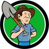 Farmer Shovel Shoulder Circle Cartoon Stock Photos