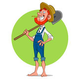 Farmer with shovel. Vector illustration Royalty Free Stock Image