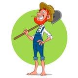 Farmer with shovel. Royalty Free Stock Image