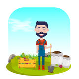 Farmer with shovel, vegetables and fertilizers. vector illustration. Farmer with shovel, vegetables and fertilizers vector illustration