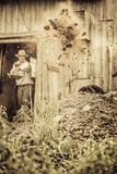 Farmer Shoveling the Horse Manure Royalty Free Stock Images