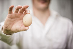 Farmer Showing an Egg Royalty Free Stock Photography