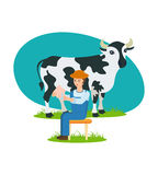 Farmer sits near the cow and is engaged in milking. Stock Photography