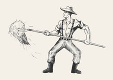Farmer. Sketch illustration of a farmer with a pitchfork collecting hay Stock Image