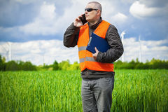 Farmer with smartphone on the green cereal field Royalty Free Stock Image