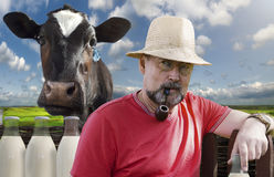 Farmer with a smoking pipe in a pince-nez Stock Photo