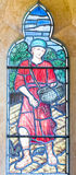 Farmer Sowing Seed Stained Glass Window Stock Photo