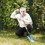 Farmer with spade Royalty Free Stock Photo