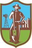 Farmer With Spade Windmill Farm Barn Retro Royalty Free Stock Image