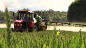 Farmer spray agricultural tractor fertilizer on cereal field. Farmer spray with red agricultural tractor fertilizer on green cereal field. Focus change. Shot on stock video footage