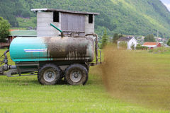 Farmer Spreading Liquid Manure Stock Images