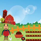 Farmer stand with his farm carrot harvest plantation in green grass field cartoon vector drawing illustration Stock Photos