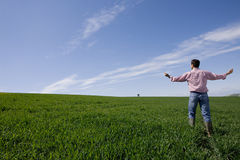 Farmer standing with arms outstretched in young wheat field Stock Image
