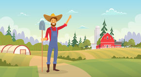 Farmer Standing Show Farm, Farmland Countryside Landscape. Flat Vector Illustration Stock Image