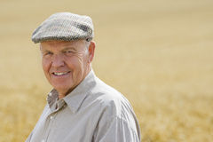 Farmer standing in wheat field Stock Images