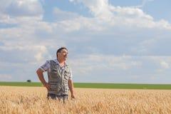 Farmer standing in a wheat field Stock Image