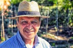 Farmer Straw Hat Portrait Stock Image