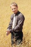 Farmer in suit standing in field of oats Stock Photography