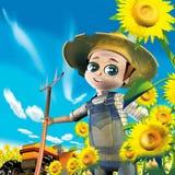Farmer sunflowers Stock Photography