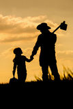 Farmer and sunset Royalty Free Stock Photos