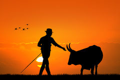 Farmer at sunset Stock Images