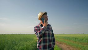 Farmer talking on phone while walking on a country road, smiling man in hat and checkered shirt enjoy the fresh air and. Farmer talking on the phone while stock footage
