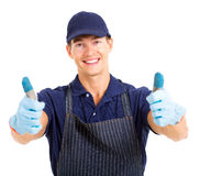 Farmer thumbs up Stock Image