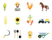 Farmer tools icons. Farmer, rooster, horse and vegetables and working tools icons Royalty Free Stock Photos