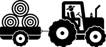 Farmer and tractor. Pictogram of a farmer on a tractor Stock Photo