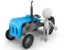 Farmer and tractor. A farmer and tractor, 3d little man standing with a 3d model of a blue tractor against white background, agriculture, farming and Stock Photo