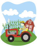 Farmer On A Tractor. Vector illustration of a farmer driving a tractor Stock Photography