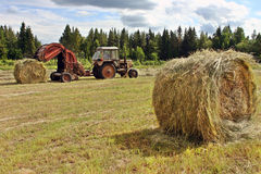 Farmer tractor with baler spitting out round rolls of hay. Stock Image