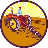Farmer On Tractor Circle Retro Stock Photo