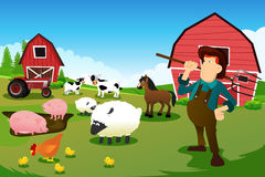Farmer and tractor in a farm with farm animals and barn royalty free illustration