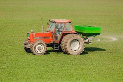 Farmer in tractor fertilizing wheat field at spring with npk. Agricultural activity Stock Photography