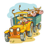 Farmer in tractor vector illustration