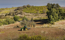 A farmer on tractor in his field in Cyprus Stock Images