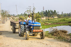 Farmer with tractor in nepal Stock Photos