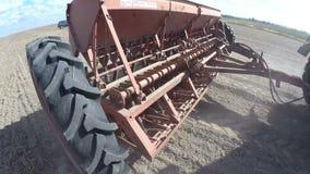 Farmer in tractor preparing land stock footage